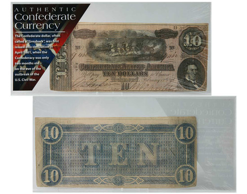 Confederate States of America $10 Currency Note