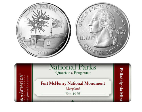 Fort McHenry National Monument and Historic Shrine P Mint Quarter Roll