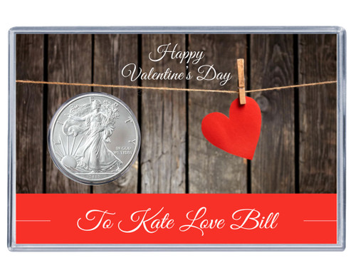 Valentines Day Silver Eagle Acrylic Display