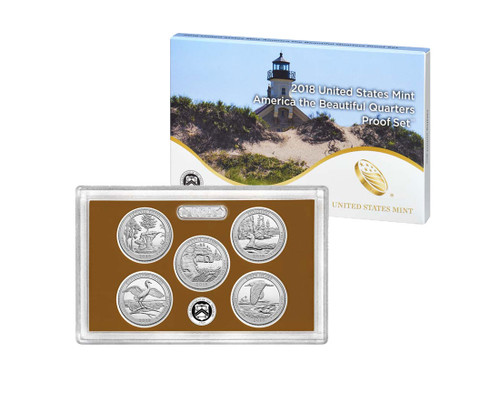 The 2018 edition of the United States Mint America the Beautiful Quarters Proof Set features the five 2017 releases in the America the Beautiful Quarters TM Program - Michigan Pictured Rocks National Lakeshore, Wisconsin Apostle Island National Lakeshore, Minnesota Voyageurs National Park, George Cumberland Island Seashore, Rhode Island National Wildlife Refuge. Each of the five quarters bears the mint mark of the United States Mint at San Francisco. In this set you will receive all five 2018 quarters in pristine proof condition, protectively encased in a clear plastic lens.