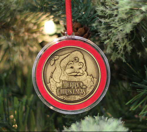 Bronze Santa Ornament