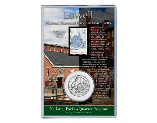 MA Lowell National Park Coin & Stamp Set