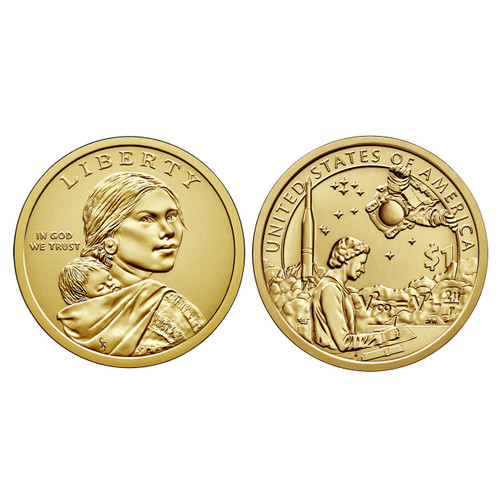 """This set includes two uncirculated 2019 Native American $1 coins - one from each of the mints, Denver and Philadelphia. The coins are displayed in an elegant case with an insert containing information on the design of the coin.  The obverse of these dollar coins was first produced in 2000 and features the image of Sacajawea and her infant son with the inscriptions """"LIBERTY"""" and """"IN GOD WE TRUST"""".  The reverse (tails)design features Mary Golda Ross writing calculations. Behind her, an Atlas-Agena rocket launches into space, with an equation inscribed in its cloud. An astronaut, symbolic of Native American astronauts, including John Herrington spacewalks above. In the field behind, a group of stars indicates outer space."""