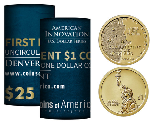 American Innovations Uncirculated Dollar Denver Mint Roll-Annie Jump Cannon Classifying the Stars