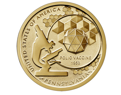 American Innovations Uncirculated Dollar Philadelphia Mint-Polio Vaccine