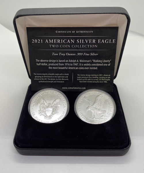 2021 American Silver Eagle 2 Piece Collection Type 1 & Type 2 Reverse Designs in a Custom Display Case