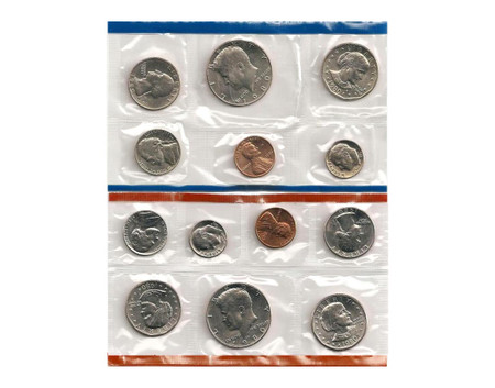 1980 TWO COIN SET BOTH P/&D MINTS WASHINGTON QUARTERS BU IN US MINT CELLO WRAP