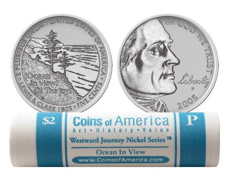 2 ROLLS P /& D 2005 WESTWARD JOURNEY NICKEL SERIES MINT WRAPING *UNCIRCULATED