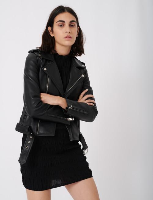 Leather biker jacket and belt - Black