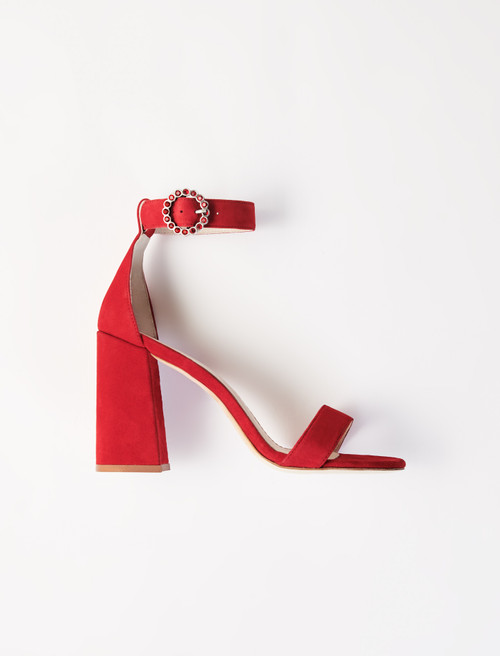 Heeled Strappy Sandals - Red