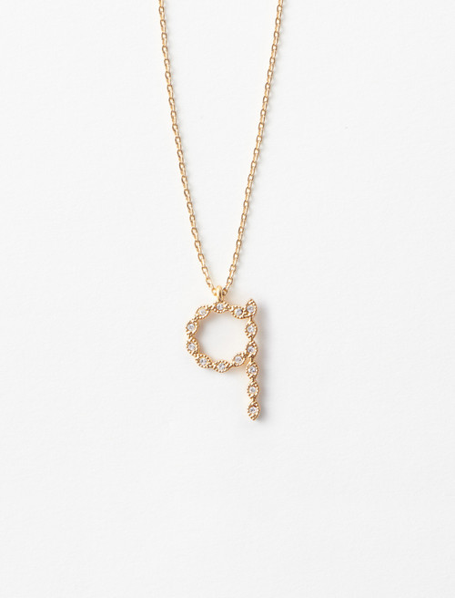 Rhinestone Q necklace - Gold