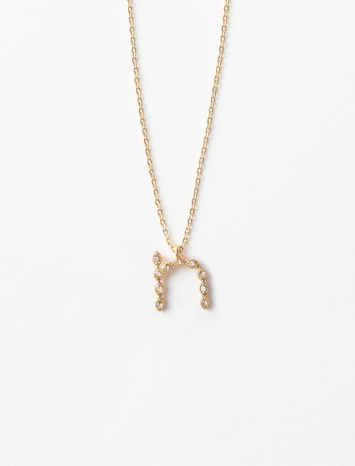 Rhinestone N necklace - Gold