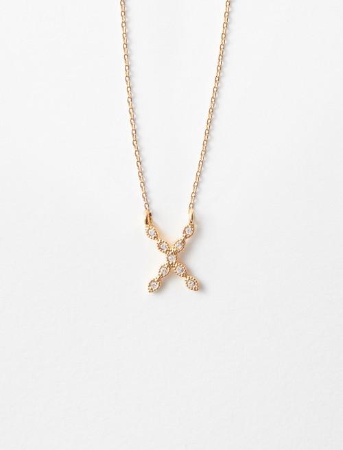 Rhinestone X necklace - Gold