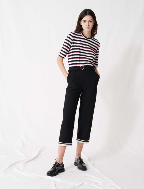 Heart buckle trousers with sporty hems - Black