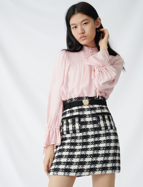 Tweed style skirt with monogrammed belt - Multi-colour