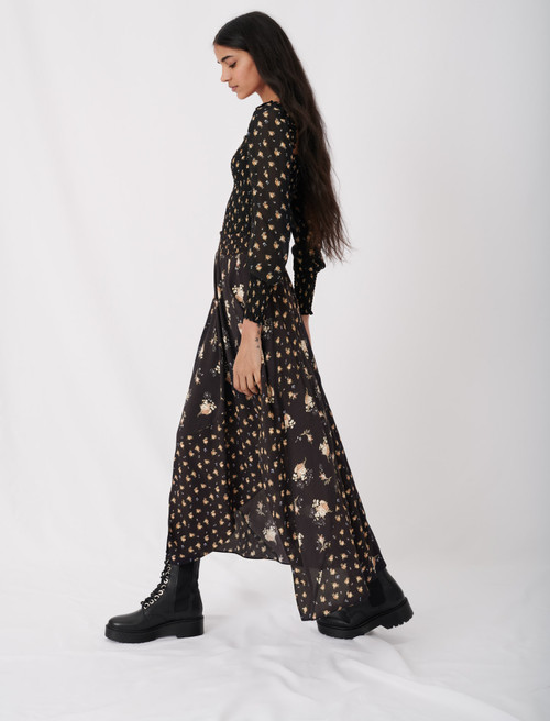 Crêpe skirt with mixed floral prints - Multiclr