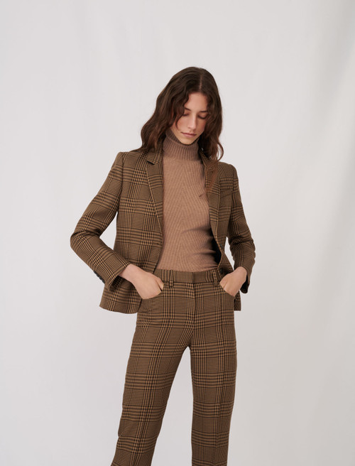 Checked fitted suit jacket - Brown