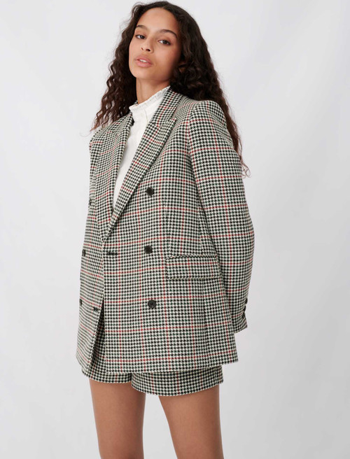 Double-breasted checked jacket - Multiclr