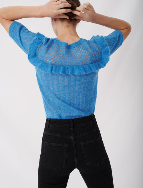 Lace style knitted sweater with ruffles - Blue