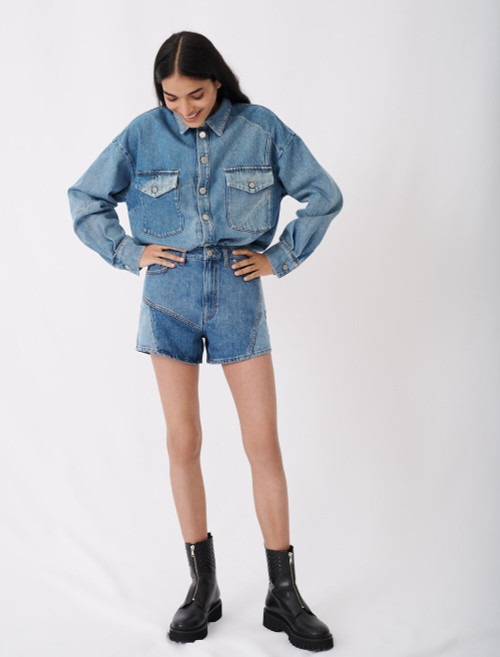 Patched denim overshirt with long sleeves and buttons by maje paris