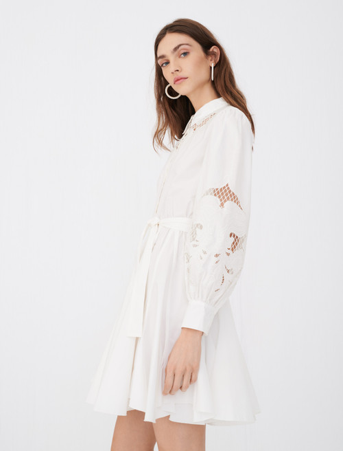 Maje Cotton and guipure lace skater dress