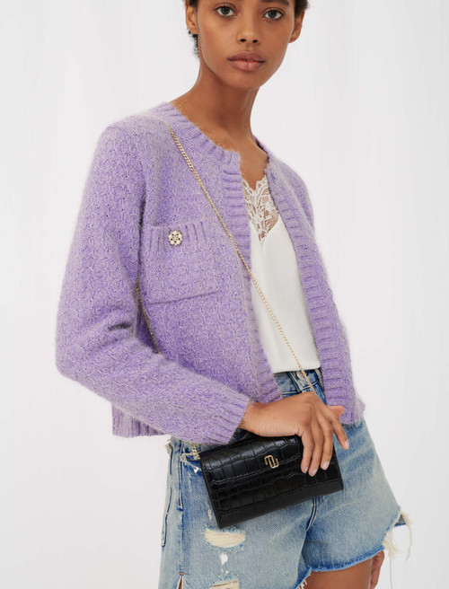 Purple cropped cardigan with long sleeves by Maje Paris