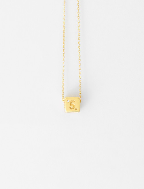 Number 5 dice necklace gold by Maje