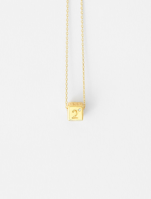 Number 2 dice necklace Gold by Maje Paris
