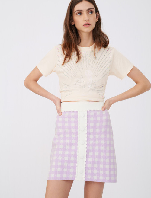 Maje straight skirt in checked jacquard