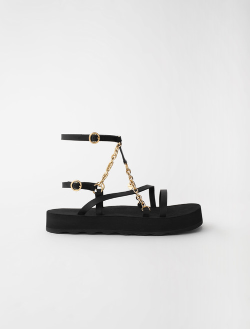 Maje Sandals with leather straps and chain