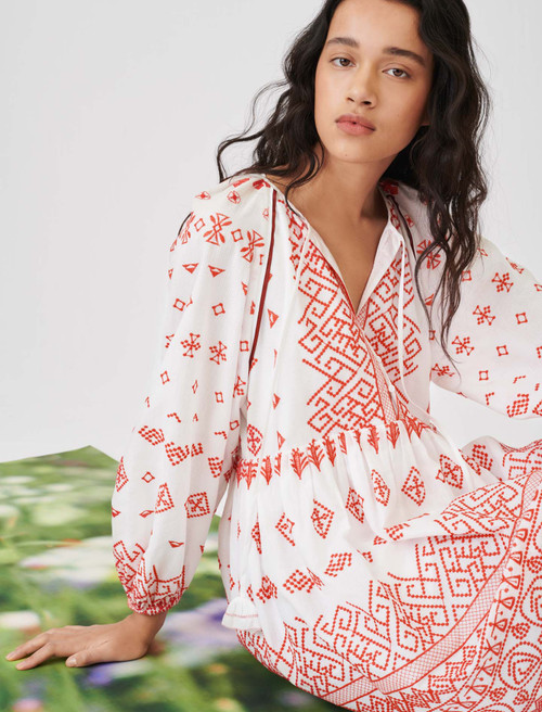 Maje Baby-doll style fully embroidered dress