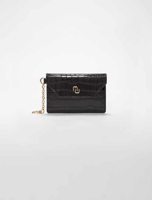 Embossed crocodile effect leather case - Black