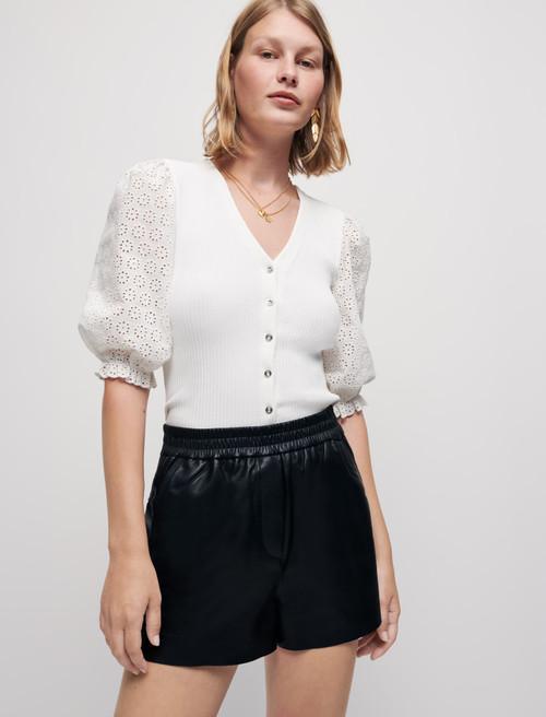 Elasticated lambskin leather shorts - Black