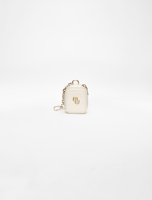 Embossed leather earphone case - White