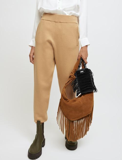 Suede tie bag with fringing - Camel