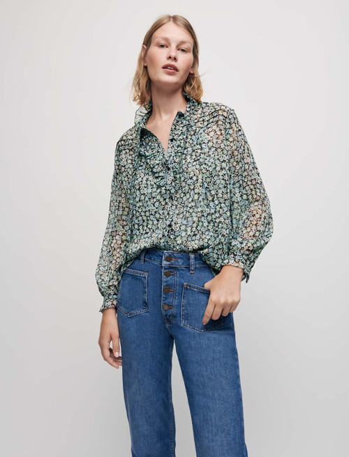 Printed lurex chiffon shirt - Celadon
