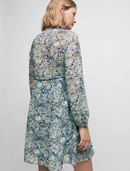 Printed chiffon dress - Blue