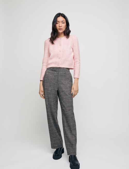 Wide legged checked trousers - Grey