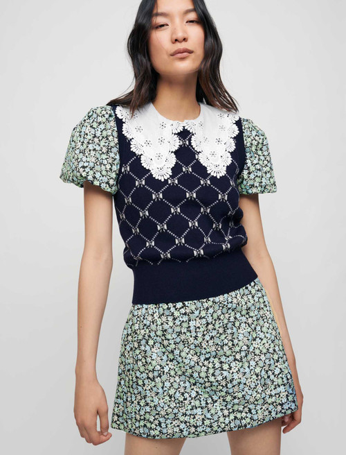 Sleeveless jacquard pullover with bows - Marine