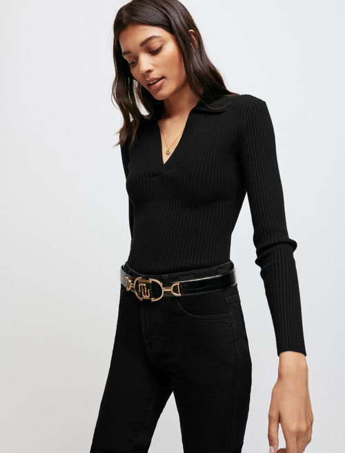 Low-cut pullover with collar - Black