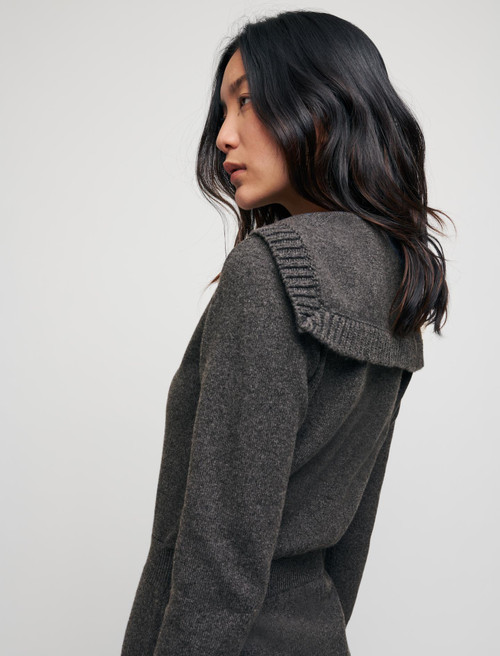 Wool and cotton dress with sailor collar - Grey