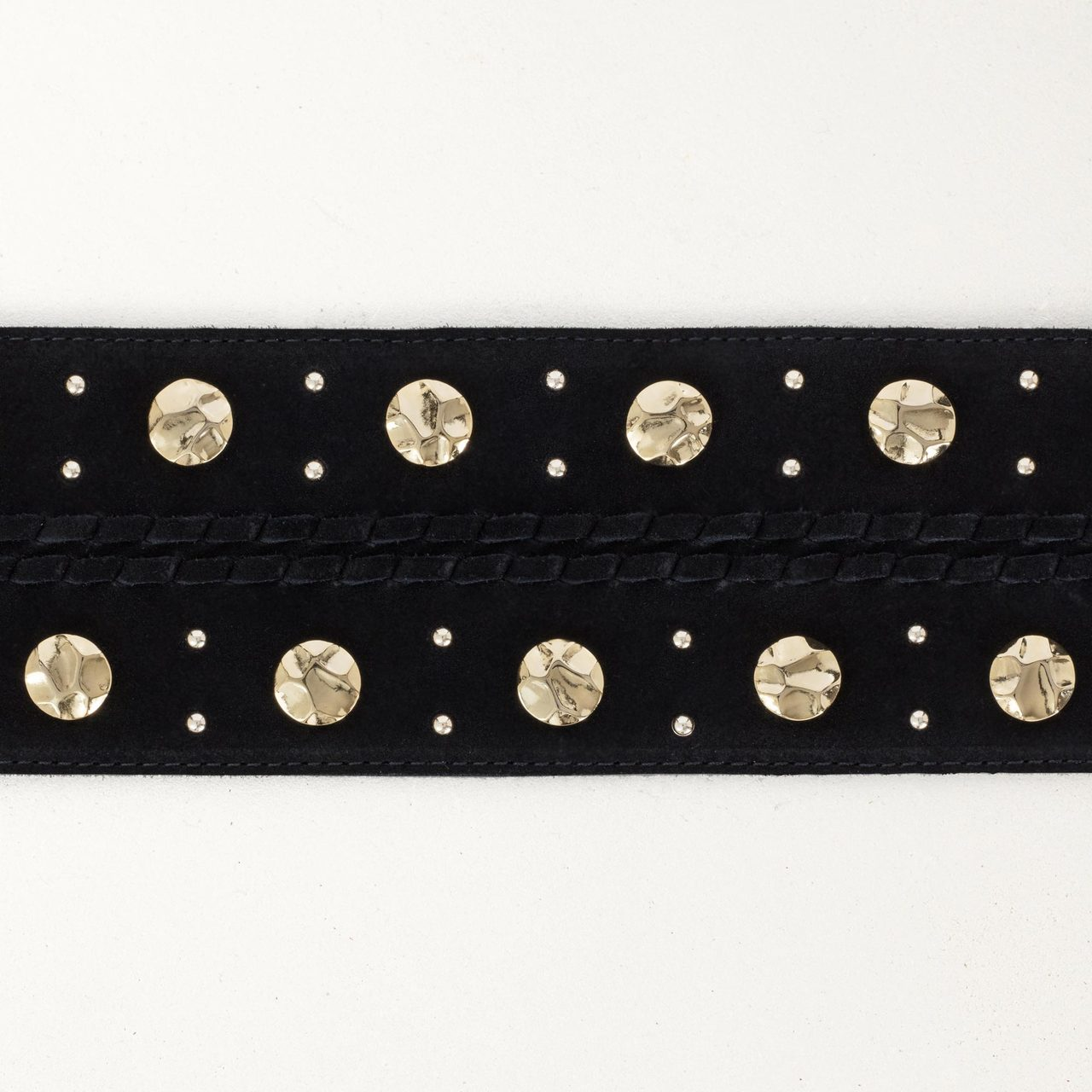 High-Waisted Suede Belt With Studs - Black