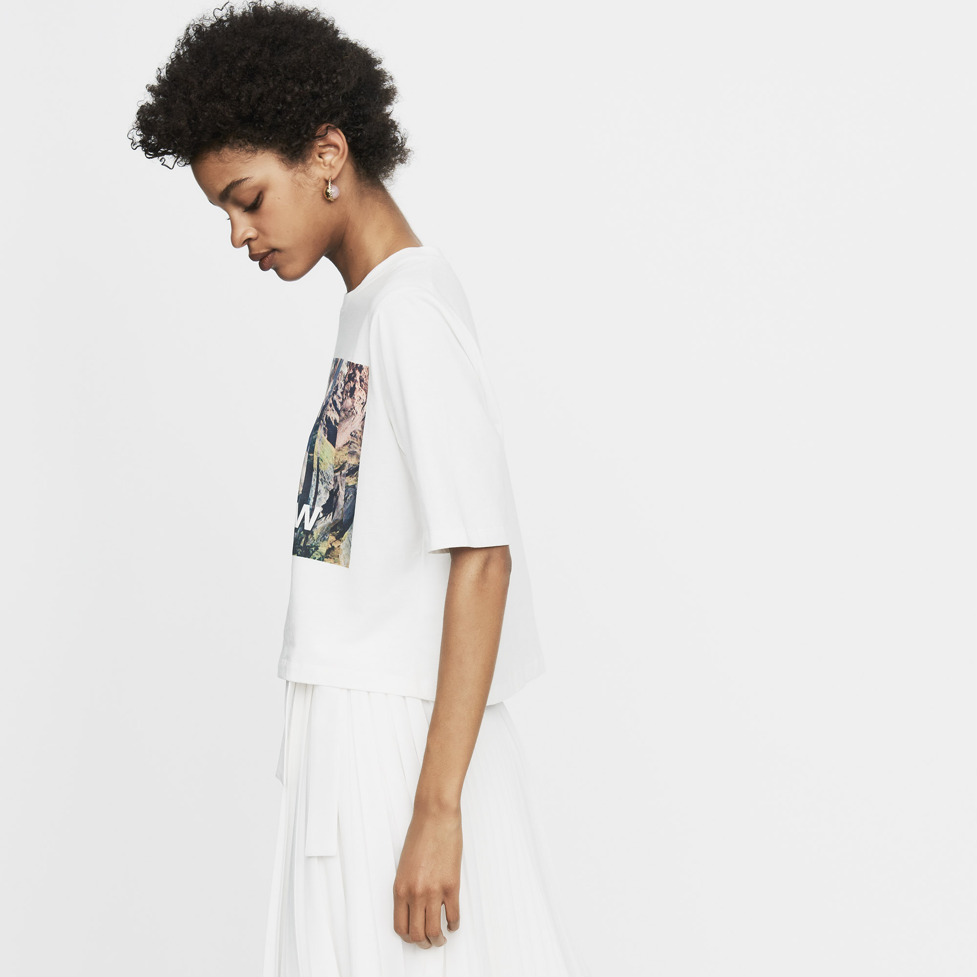 Cropped Printed T-Shirt - White