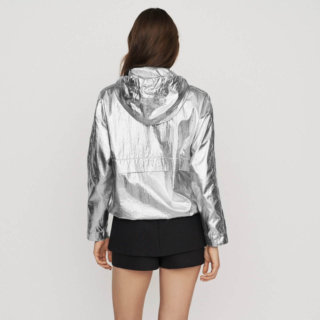 Windproof Coat With Hood - Silver