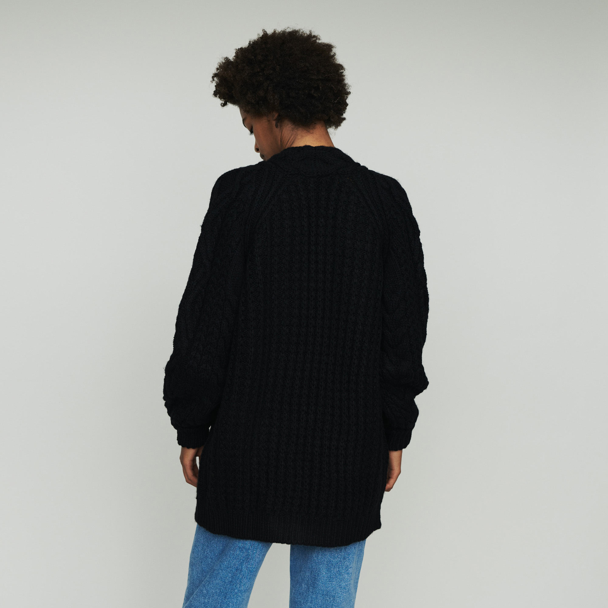 Oversize cardian in twisted mesh knit - Black