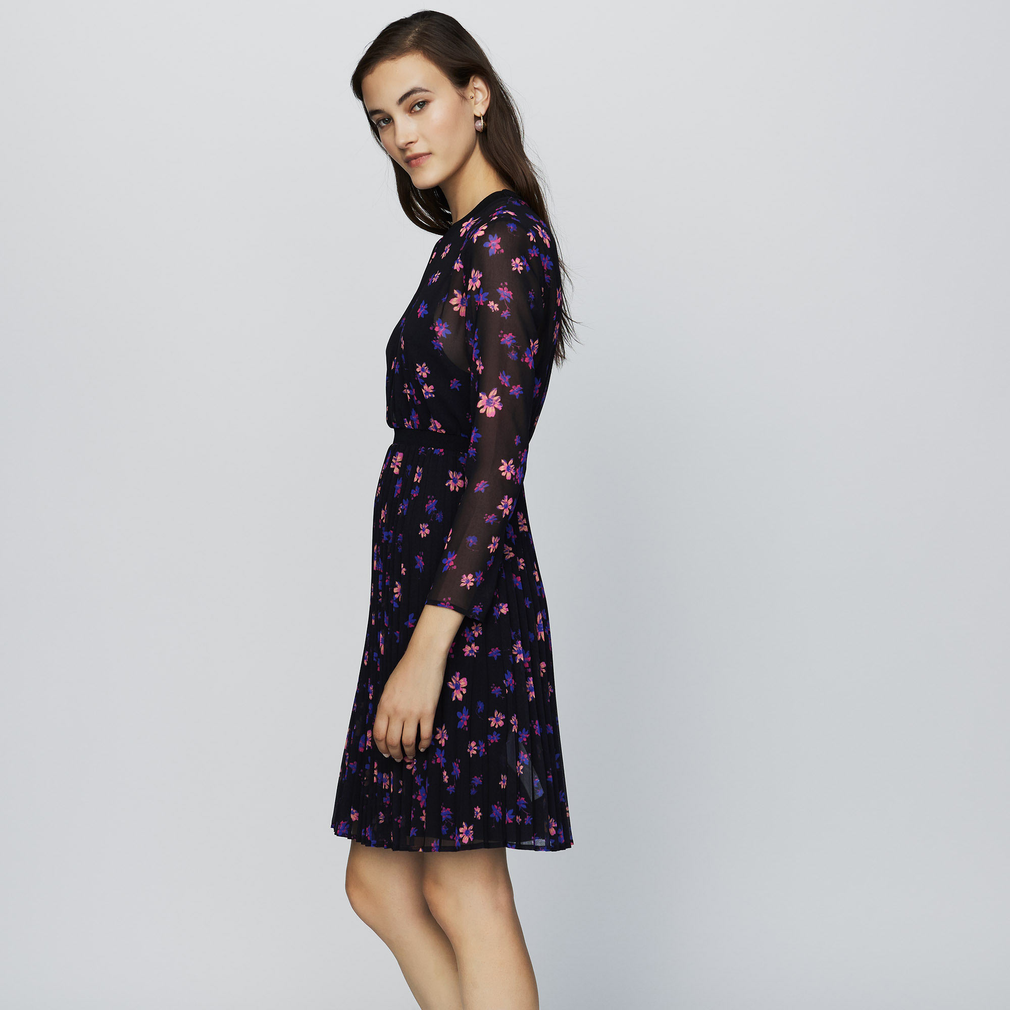 Printed dress with pleated skirt - Print