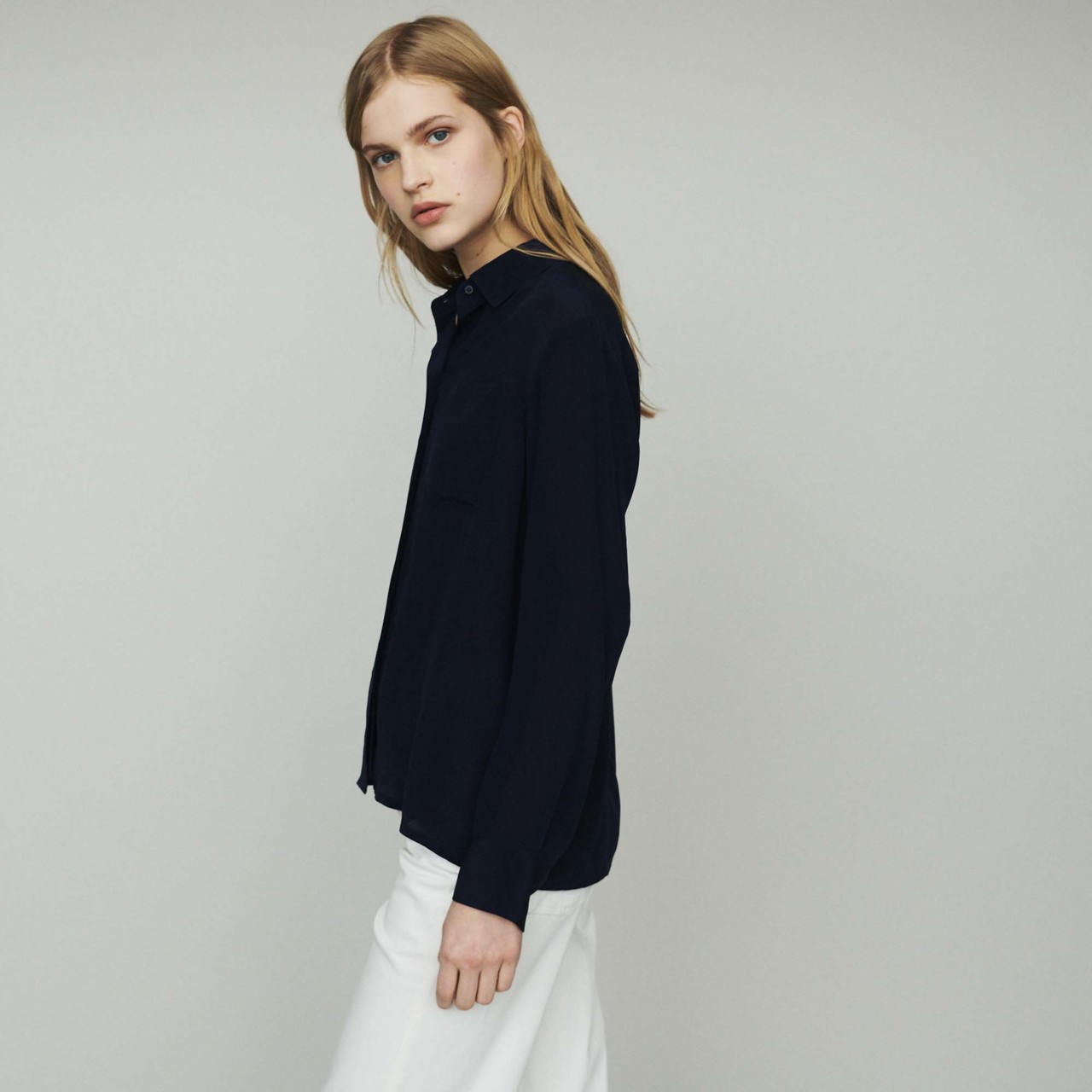 Silk Shirt - Navy