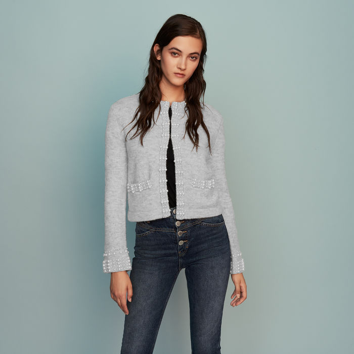 Wool Blend Cardigan With Pearls - Grey