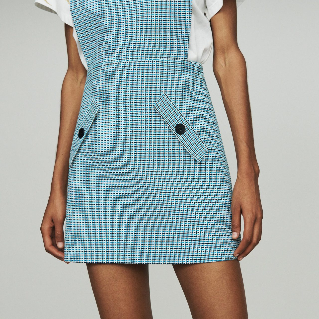 Tweed-Style Chasuble Dress - Blue