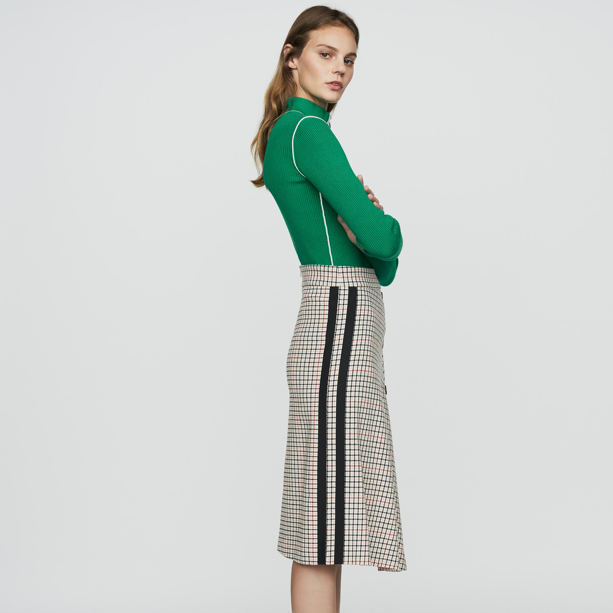 Long Asymmetric Plaid Skirt - Check